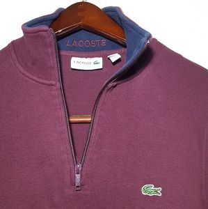 LACOSTE Sweater Size Large Collar Zipper EUC